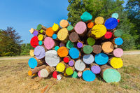 Pile of colorful painted tree trunks outside
