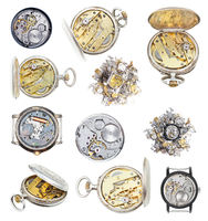collection of vintage wathes and clock parts