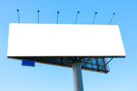 Large blank billboard over the blue sky