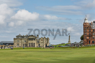 St. Andrews Clubhouse and Golf Course of the Royal  Ancient where golf was founded in 1754, considered by many to be the 'home of golf'.