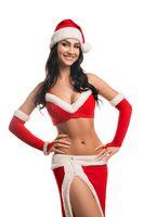 Smiling slim woman in erotic Santa costume