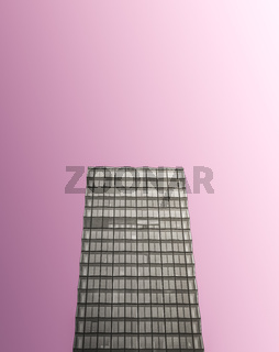 Monochrome Glass Skyscraper On Pink