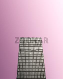 Monochrome Glass Skyscraper On Pink