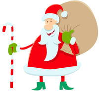 funny Santa Claus cartoon character with presents