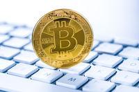 Golden coin bitcoin. Cryptocurrency concept.
