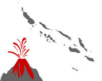 Karte der Salomonen mit Vulkan - Map of the Solomon Islands with volcano