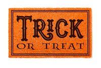 Trick Or Treat Halloween Orange Welcome Mat Isolated on White Background