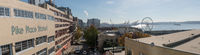 Panoramic view of Pike Market Place, Ferris wheel, Elliott Bay and Seattle Harbor
