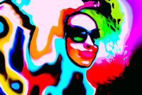 Pop art woman with glasses in event. Style watercolor
