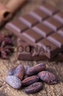 Kakaobohnen und Schokolade