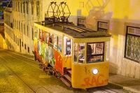 Funicular at night. Lisbon, Portugal