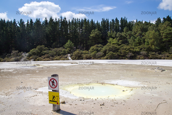 Thermal Pool Warning Sign in New Zealand