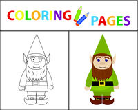 Coloring book page for kids. Forest gnome. Sketch outline and color version. Childrens education. Vector illustration.