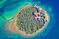 Kosljun. Adriatic island of Kosljun in Punat bay aerial view, Island of Krk