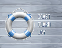 Coast guard day greeting card with Life Buoy