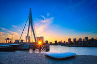 Erasmus Bridge on sunset, Rotterdam, Netherlands