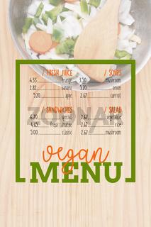 Salad with rectangle frame border of Vegan Menu card