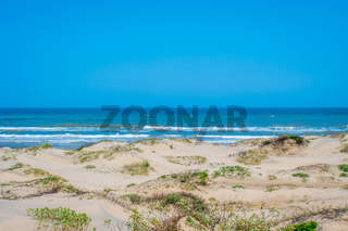 A beautiful soft and fine sandy beach along the gulf coast of South Padre Island, Texas