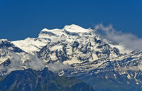 Snow-covered Grand Combin massif, Pennine Alps, Bourg-Saint-Pierre, Valais, Switzerland