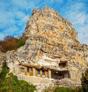 Basarbovo, Bulgaria - November 11, 2017. The rock monastery 'St Dimitrii of Basarbovo', Bulgaria. Ro