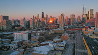 Golden Light Night Sunset over Downtown City Skyline Chicago Illinois