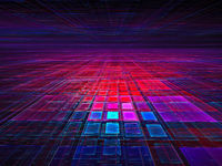Neon glowing grid - abstract digitally generated 3d illustration