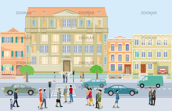 Pedestrians with road traffic, parents and children, illustration