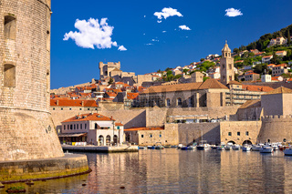 Historic Dubrovnik harbor and strong walls view