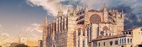 Panoramic view exterior of Cathedral of Palma de Mallorca or La Seu. Spain