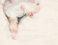 watercolor toddler crawling