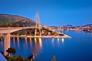 Dubrovnik Franjo Tudjman bridge and harbor evening view