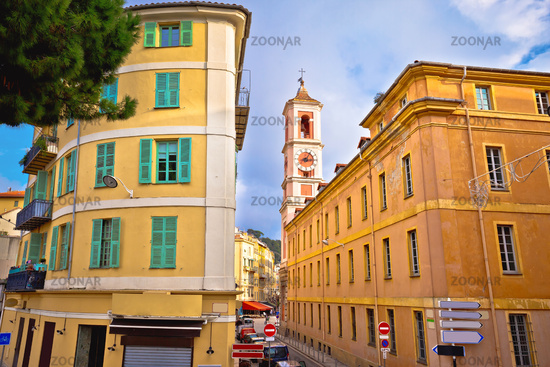 City of Nice colorful street architecture and church view