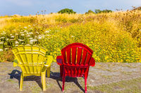 Red and yellow armchairs stand in the park