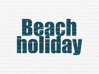 Vacation concept: Beach Holiday on wall background