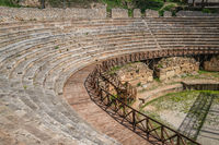 Ruins of ancient Roman theatre in Ohrid