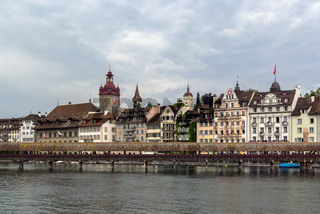 view of Lucerne with Kapellbrucke