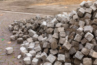 Pile of cobblestones lying on the ground