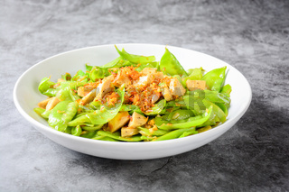 Stir Fry Snow Peas with Vietnamese Grilled Pork Sausage