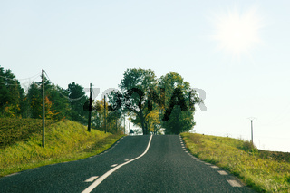 Two-lane highway in the hills of France