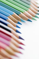 Colored pencils wavy focus on blue