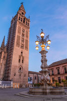 The Giralda Bell Tower at dusk, Seville, Andalusia, Spain, Europe