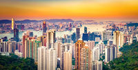 Hong Kong skyline at sunset. Panorama