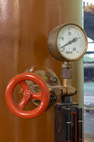 Measuring instrument on a historic generator in an old power plant