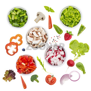 Salad or cooking ingredients on white background
