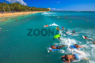 Bodyboarding Waikiki Beach