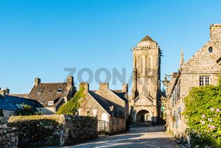 View medieval village of Locronan in Brittany