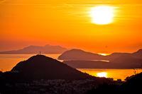 Idyllic sunset above Dubrovnik archipelago view
