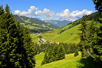 The hamlet Planay in pre-alpine landscape with pastures and forests in summer,Megeve, Savoie, France