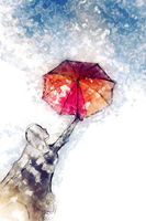 Innocent girl dancing with her umbrella modern watercolor painting