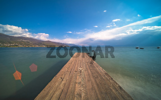 Wooden pier on the shore of Lake Ohrid